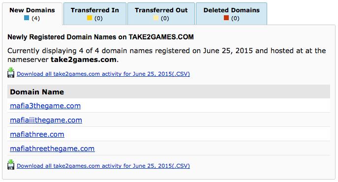 Take-Two registrace Mafia 3 domén